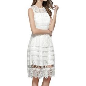 ドレス ノースリーブのレースのドレスフィットフレアエレガントなカクテルパーティードレスフォーマルイブニングウエディングドレスウェディング花嫁介添人ドレス あらゆる場所に適しています (色 : 白, サイズ : S)