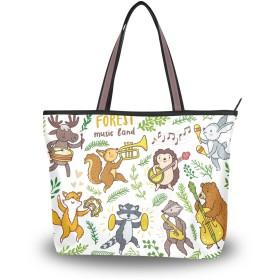 Akiraki トートバッグ レディース 大容量 メンズ おしゃれ かわいい ハンドバッグ バッグ 旅行 アニマル 動物柄 きつね ハリネズミ 熊柄 兎 通勤 通学 ファスナー キャンパス 軽量 防水 肩掛け 誕生日 プレゼント