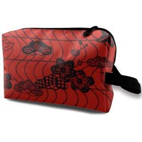 和風 絵画 化粧ポーチ トイレタリーバッグ トラベルポーチ 洗面用具入れ フルメイクセットバッグ 大容量 化粧品収納 出張 海外 旅行グッズ 育児グッズ レディース インナーバッグ