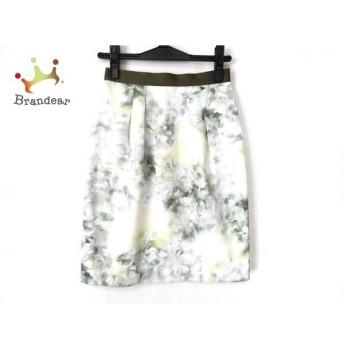 ジャスグリッティー スカート サイズ0 XS レディース 新品同様 白×ダークグリーン×マルチ 花柄   スペシャル特価 20200114
