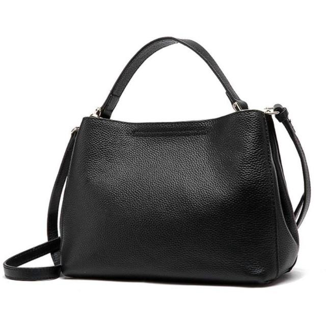 エンボスレザーの女性のショルダーメッセンジャーバッグの画像の簡単な第一層,黒