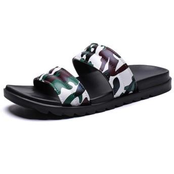 [GERUIQI] 快適なプラスチック製の夏のビーチスリッパ滑り止めフラットラウンドオープントゥスリップオン防水速乾性メンズカジュアルファッションプールスライドソフト (Color : Camouflage brown, サイズ : 25 CM)