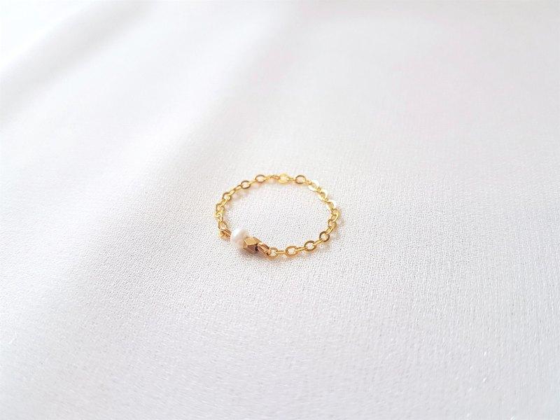 星芒 ‧ 珍珠 黃銅 黃銅包14K金 鍊戒