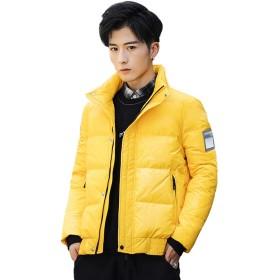 メンズスタンドダウンジャケット、厚く短い冬用ジャケット(白、黄、青)