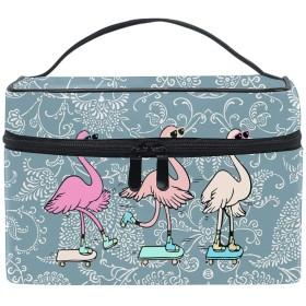 フラミンゴクールコスメバッグ 化粧ポーチ メイクバッグ ギフトプレゼント用 携帯可能