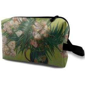 キョウチクトウの絵画 化粧バッグ 収納袋 女大容量 化粧品クラッチバッグ 収納 軽量 ウィンドジップ