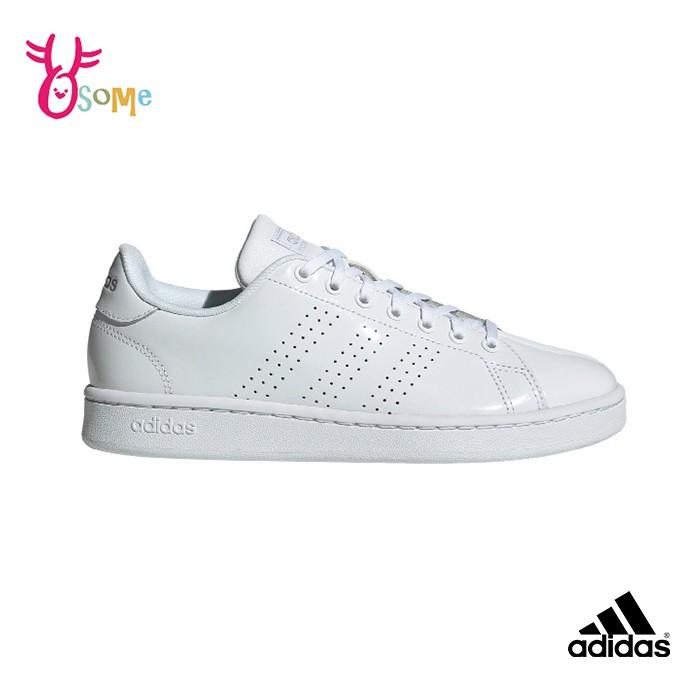 adidas 成人女款板鞋 ADVANTAGE 經典三線 休閒運動鞋 R9372 白色 OSOME奧森鞋業