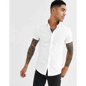 エイソス ASOS DESIGN メンズ シャツ トップス skinny fit smart shirt in white ホワイト