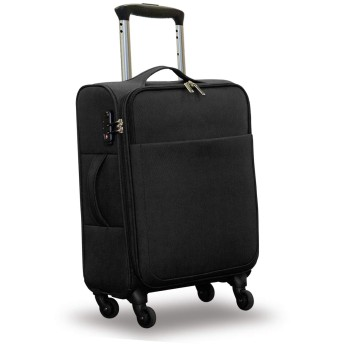 FIELDOOR TSAロック搭載 ソフトキャリーケース 【Sサイズ/ブラック】 トラベルスーツケース 軽量 外ポケット 耐衝撃 撥水