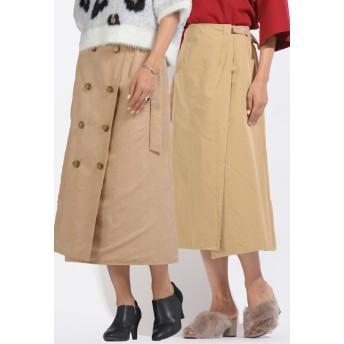 MAYSON GREY メイソングレイ 【socolla】リバーシブルスェードトレンチスカート その他 スカート,ベージュ