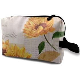 黄色の水彩ひまわり 化粧バッグ 収納袋 女大容量 化粧品クラッチバッグ 収納 軽量 ウィンドジップ