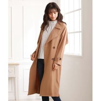 後プリーツとろみ素材トレンチコート (コート)(レディース)Coat, 大衣