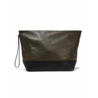 マルニ MARNI レディース ポーチ two-tone leather pouch Army green