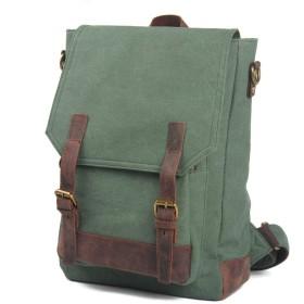 メンズバッグ 防水ティーンズカレッジスクールバッグ卸売ヴィンテージ屋外キャンバスメンズバックパックファッション 大容量 バッグ (Color : Coral Green, Size : 28cm10cm39cm)