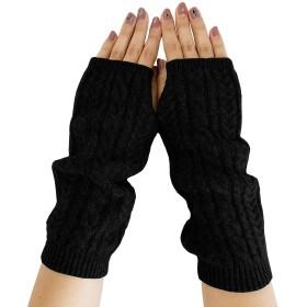 [PRODIGAL(プロディガル)] カシミヤ 100% ケーブル編み アームウォーマー レディース (フリーサイズ, ブラック)