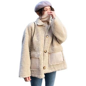 QYYボアブルゾン レディース ボアジャケット ショート アウター ボア おしゃれ 厚手 コート ファッション 保温 羽織り もこもこ ポケット アウトドア(Vアプリコット)