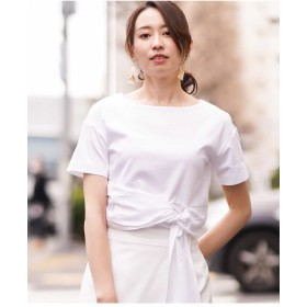 MK MICHEL KLEIN 【洗濯機で洗える】ドレープリボンカットソー Tシャツ・カットソー,ホワイト