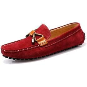 [ZLPDM] ドライビングシューズ 紳士靴 ウォーキングシューズ デッキシューズ ローファー メンズ 革靴 スリッポン モカシン リボン レースアップ 夏 ネイビー レッド イエロー 通勤 通気性 歩きやすい スエード調 カジュアル お兄系 紳士靴 靴