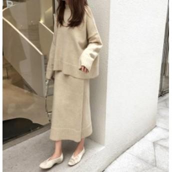韓国 ファッション レディース セットアップ ニット スカート ラップ ロング ゆったり 大きいサイズ 長袖 カジュアル 大人可愛い シンプ