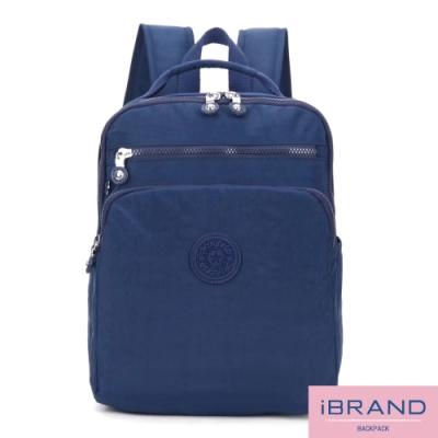 iBrand後背包 輕盈防潑水素色雙拉鍊尼龍後背包-寶藍色