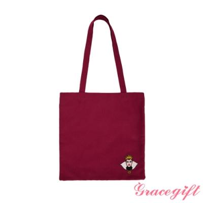 Disney collection by gracegift壞皇后電繡圖案帆布袋 紅