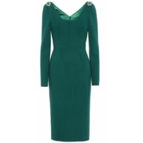 ドルチェandガッバーナ Dolce and Gabbana レディース パーティードレス ワンピース・ドレス Wool-blend crepe dress Dark Green