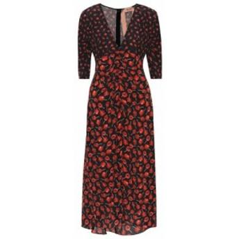 ヌメロ ヴェントゥーノ N21 レディース ワンピース ミドル丈 ワンピース・ドレス Floral silk midi dress stampa fondo nero