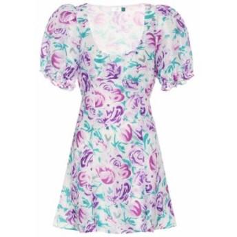 リキソ Rixo レディース ワンピース ワンピース・ドレス Morgan linen and silk minidress Pink Teal