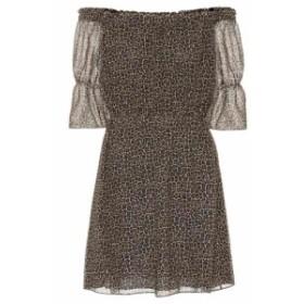 イヴ サンローラン Saint Laurent レディース ワンピース ワンピース・ドレス Leopard virgin wool minidress leopard
