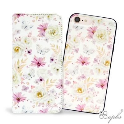 apbs iPhone 8/7/6s/6 Plus 兩用施華彩鑽磁吸手機殼皮套-小白蝶