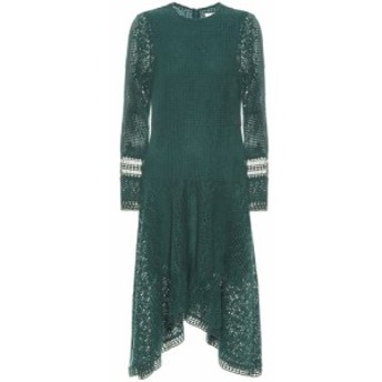 クロエ See By Chloe レディース ワンピース ミドル丈 ワンピース・ドレス Asymmetric lace midi dress Lightless Green