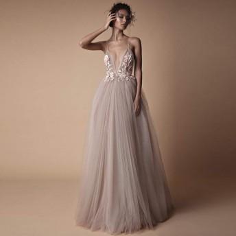 ヨーロッパとアメリカのエレガントなホルタースリングドレスのウェディングドレス花嫁の宴会花嫁介添人ドレスウェディングドレス(ライトピンク)