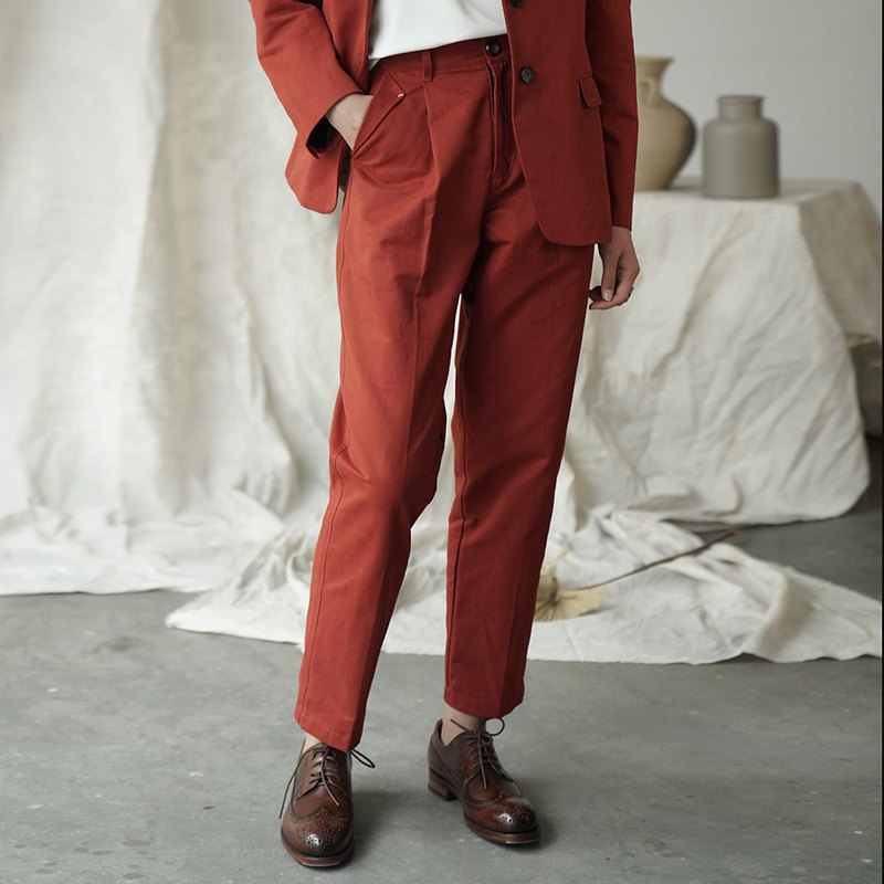 複古紅白兩色翻口袋哈倫休閑長褲 又一條百搭神褲