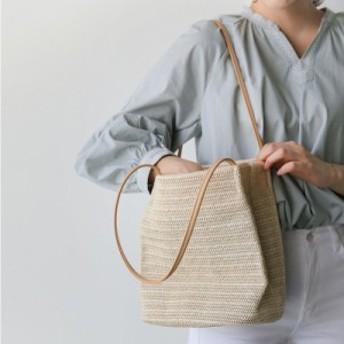 ショルダータイプのシンプルな大きめストローバッグ ショルダーバッグ かごバッグ【送料無料】