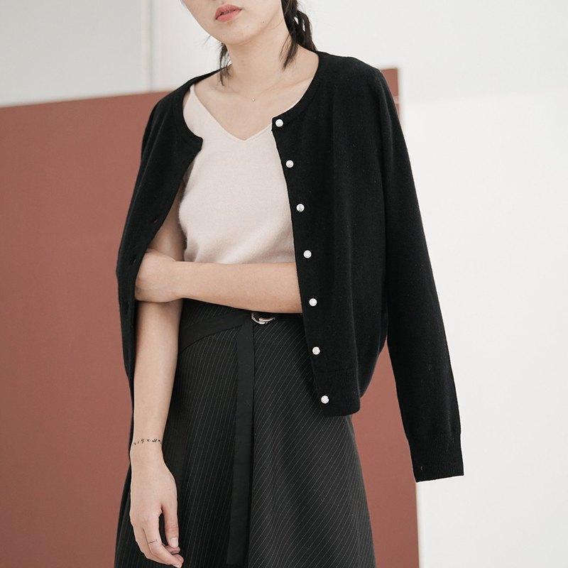 黑色 DROPS 松石紐扣 基本款100%澳洲全羊毛針織衫  開衫毛衣四色