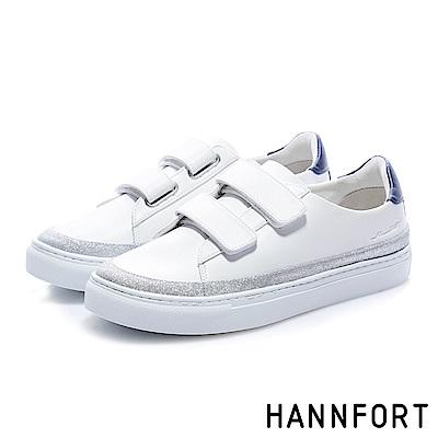 HANNFORT CAMPUS (訂製款)經典黏帶厚底休閒鞋-女-白