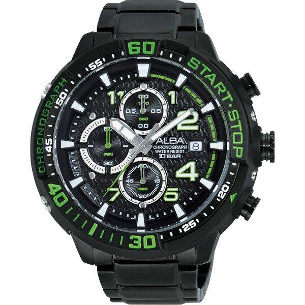 ALBA VD57-X016G(AM3101X1)綠黑罐頭潛水風計時腕錶/黑面49mm
