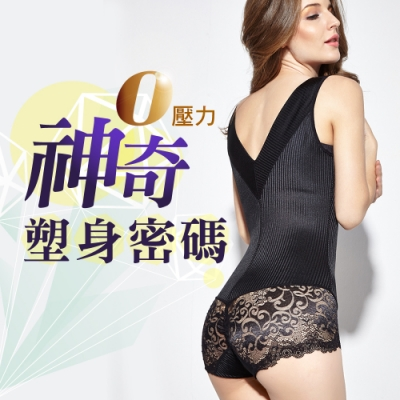 【JS嚴選】神奇塑身密碼性感微裸連身衣(條紋連身3001*2+巴洛克褲*2)