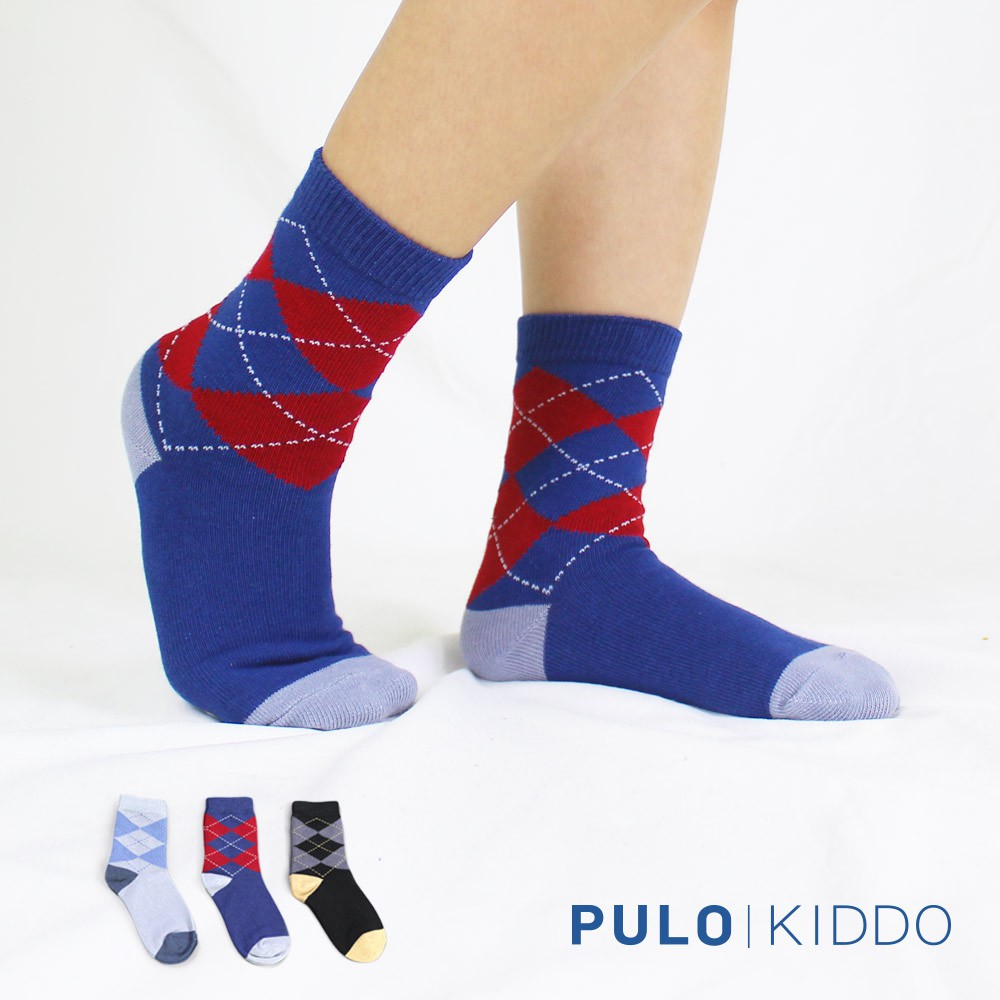 PULO-英倫風菱格童襪