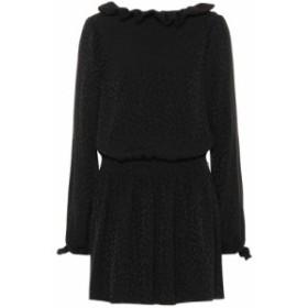 イヴ サンローラン Saint Laurent レディース ワンピース ワンピース・ドレス Long-sleeved silk minidress Noir