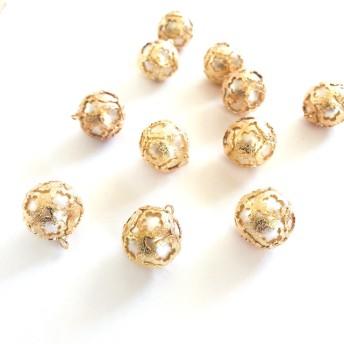 「#1764」 花型 ゴールド パール ボール チャーム ︎4個セット