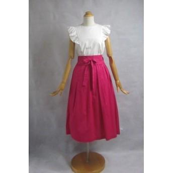 サッシュベルト付 綿ローンのタックギャザースカート ローズピンク サイズF