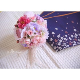 七五三 ball bouquet lace pink