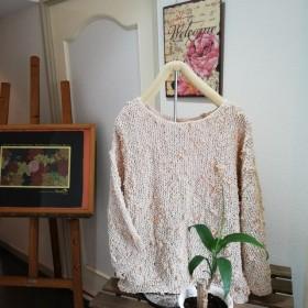 【手編み】レーヨンのリボンヤーンで編み上げました