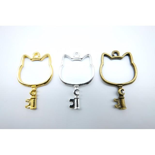 (10個)レジン枠 猫の鍵 猫 約3.8cm×2.4cm ゴールド/シルバー/アンティーク wk-502