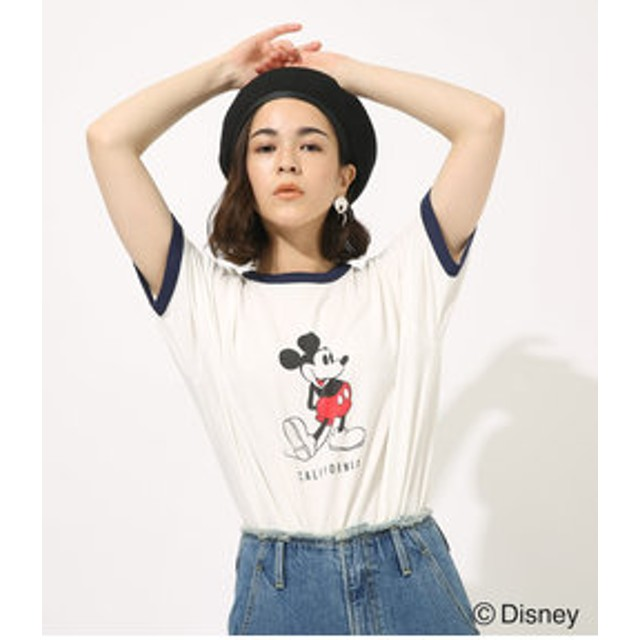 【AZUL by moussy:トップス】RINGER MICKEY TEE