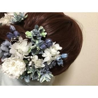 ウェディング髪飾りパーツセットインディゴ桜とホワイトカーネーション