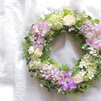 Rain Flower 紫陽花のふんわりリース