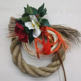 華やかな正月飾り【紅白椿・三色水引】送料無料