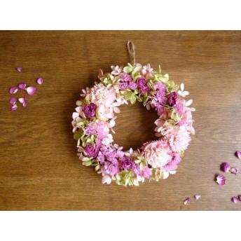 【母の日】カーネーションとミニバラのふんわりリース